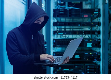 Hackers steal database from data center with computer laptop and USB Flash drive, He hideout is dark, neon Lit.