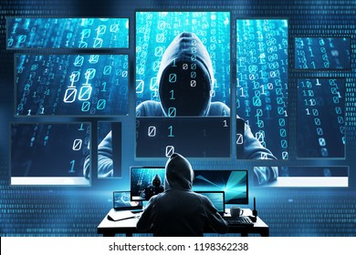 Hacking and criminal concept. Hacker using abstract laptop with binary code digital interface. Double exposure