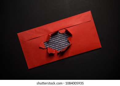 Hacking of encrypted data and intrusion into privacy on the Internet. The envelope with the binary code was hacked.