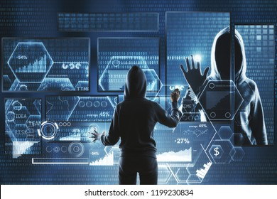 Hacking and information concept. Hacker using abstract laptop with binary code digital interface. Double exposure