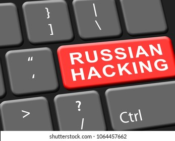 Hacking Keyboard Key Showing Data Hacked 3d Illustration. Russians Stealing Online Information By Spying And Tampering On Digital Network.