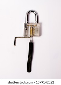 hacking the padlock with a lock pick