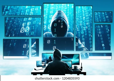 Hacking and phishing concept. Hacker using abstract laptop with binary code digital interface. Double exposure