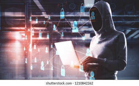 Hacking and theft concept. Hacker using laptop with abstract business interface in blurry office interior. Double exposure