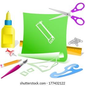 Hacksaw. Paper template. Raster illustration.