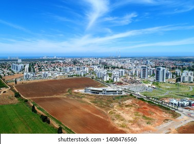 """Hadera - Israel. Aerial View Of The """"Eco Park"""" And The Eastern Side Of The City"""