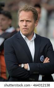 HADERSLEV, DENAMRK - AUGUST 4, 2016: Third Round Elimination to European League match SonderjyskE - KGHM Zaglebie Lubin 1:1. Coach of SonderjyskE Jacob Michelsen.