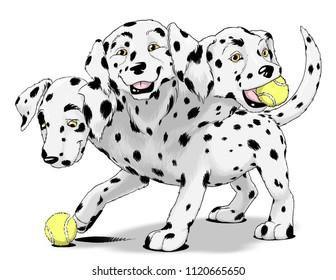 Hades' faithful three-headed hellhound Cerberus depicted as a playful dalmatian puppy.
