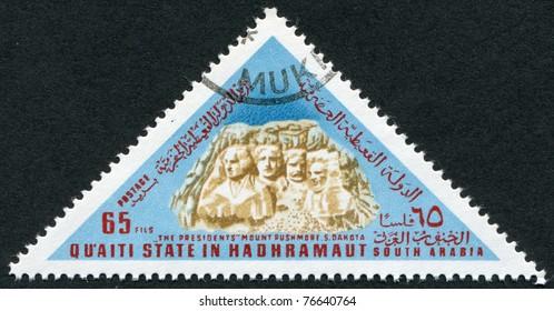 HADHRAMAUT - CIRCA 1968: Postage stamps printed in Hadhramaut, depicts Mount Rushmore National Memorial, USA, circa 1968