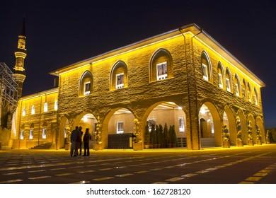 Hadji Bayram Mosque, one of the famous mosque at Ankara - night, Turkey