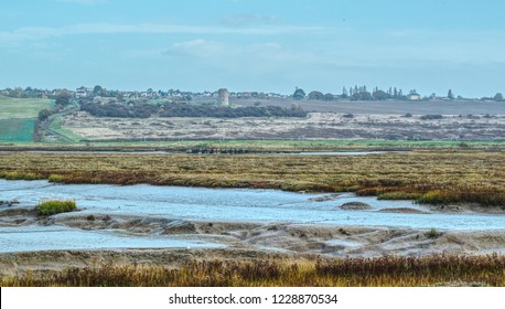 Hadleigh castle viewed from Canvey Island, Essex. South Benfleet.