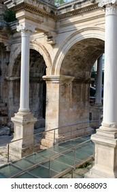 Hadreanus gate in the old town wall Antalya Turkey