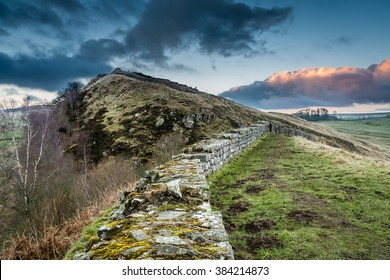 Hadrian's Wall above Cawfield Crags / The Pennine Way walking trail joins the Roman Wall at this section,which is a UNESCO World Heritage Site