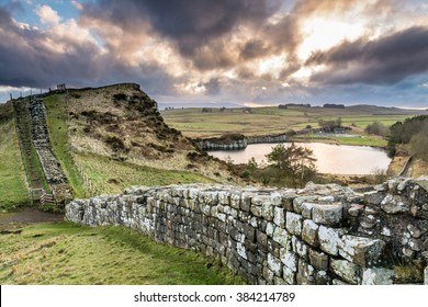 Hadrian's Wall above Cawfield Quarry / The Pennine Way walking trail joins the Roman Wall at this section,which is a UNESCO World Heritage Site