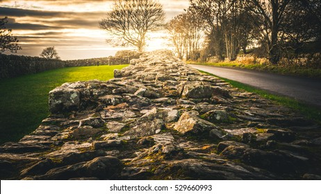 Hadrian's Wall at Banks East Turret during a sunset in winter