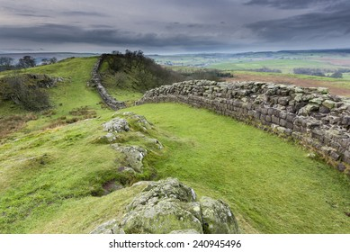 Hadrian's wall built by Roman's to protect northern borders of British Isle was extending from west coast to east coast of the Great Britain. Remainings of the wall near Walton Quarry, Northumberland