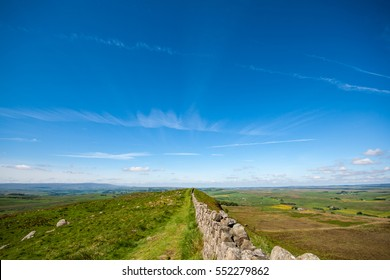Hadrians Wall disappearing into distance of a big sky and landscape