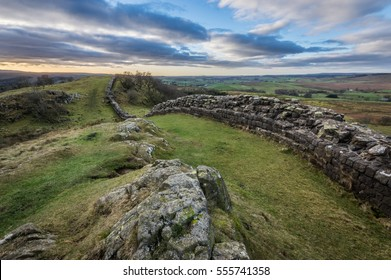Hadrian's Wall high up on the Whin Sill in Northumberland at Walltown Crags.