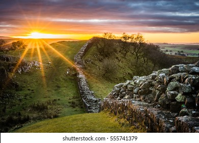 Hadrian's Wall looking west at sunset from Walltown Crags.