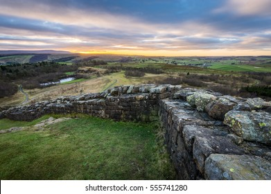 Hadrian's Wall looking west towards Walltown County Park and Cumbria.
