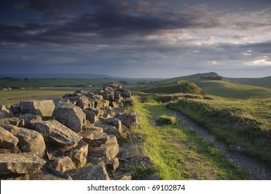 Hadrian's Wall near Steel Rigg, Northumberland, England.