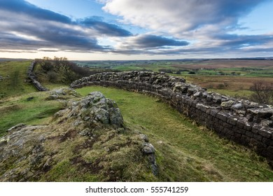 Hadrian's Wall on the outskirts of the Northumberland National Park at Walltown Crags.