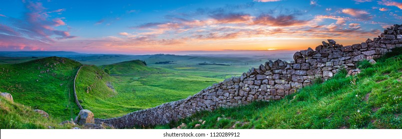 Hadrian's Wall Panorama at Sunset, a World Heritage Site in the beautiful Northumberland National Park. Popular with walkers along the Hadrian's Wall Path and Pennine Way