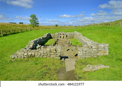 Hadrians Wall, place called Brocolitia Mithraeum, a Roman Temple - Northumberland National Park, United Kingdom. Hadrians Wall is a World Heritage Site by UNESCO
