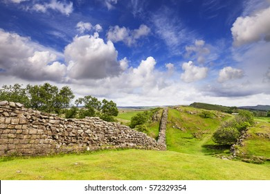 Hadrian's Wall under a dramatic sky at Walltown Crags, Northumberland, England.