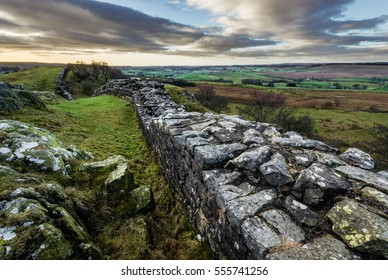Hadrian's Wall at Walltown Crags looking towards Cumbria and Scotland