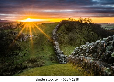 Hadrian's Wall at Walltown Crags at sunset.