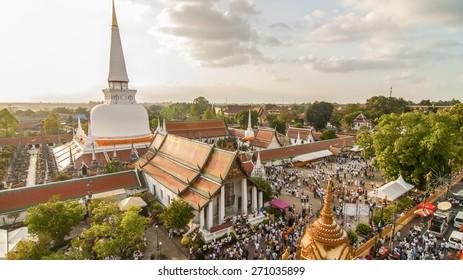 Hae Pha Khuen That Festival is celebrated at Phra Borom That Chedi at Wat Phra Mahathat Woramahawihan in NAKHON SI THAMMARAT, THAILAND