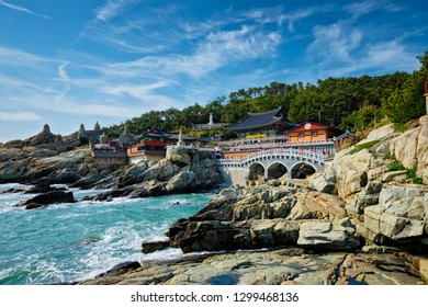 Haedong Yonggungsa Temple on sea shore. Busan, South Korea