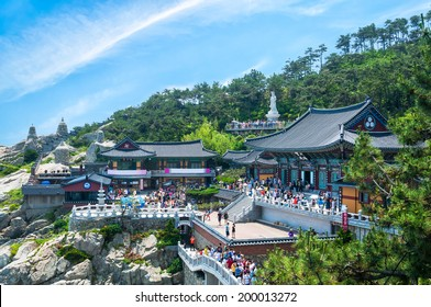 Haedong Yonggungsa Temple sits upon a cliff overlooking the East Sea in Busan, South Korea.