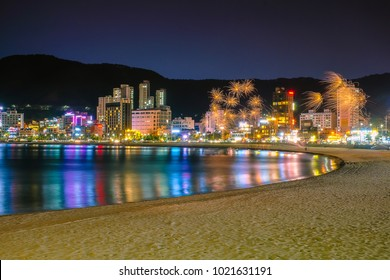 Haeundae beach in Busan city at night, South Korea. Image contain of dust and noise.