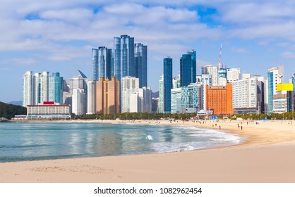 Haeundae beach landscape, one of the most famous and beautiful beaches in Busan, South Korea