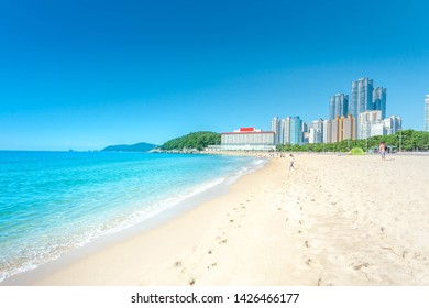 Haeundae beach in summer sea beach blue sky sand sun daylight relaxation landscape viewpoint at Busan in Korea.