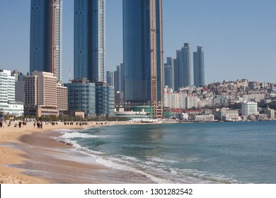 Haeundae Beach and Surrounding Cityscape (Pusan, Korea)