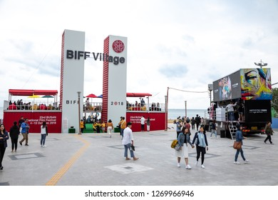 Haeundae, Busan / South Korea - October 9 2018:  Busan International Film Festival (BIFF) pavilion at Haeundae Beach