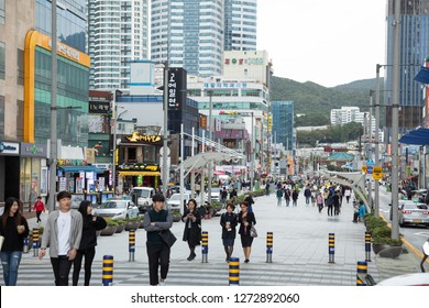Haeundae, Busan / South Korea - October 9 2018: Central shopping promenade at Haeundae Beach, crowded with tourists