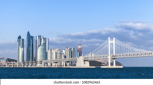 Haeundae District of Busan, South Korea. Skyline with Diamond Bridge