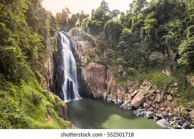"Haew Narok Waterfall at Khao Yai National Park in Thailand ""Khao Yai National Park covers more than 2,000 square kilometers of forest and grassland in central Thailand"""