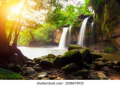 Haew Suwat waterfall at Khao Yai National Park Nakhon Ratchasima povince , Thailand