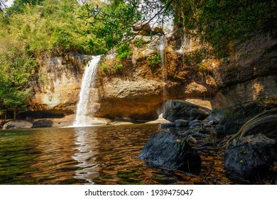 Haew Suwat Waterfall and nature, forest, beautiful trees  Khao Yai National Park, Thailand