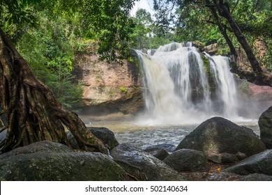 Haew Suwat waterfall in rainy season, Thailand.
