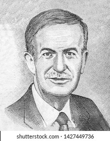 Hafez al-Assad portrait from Syrian Pound 1000 Pound 1997 Banknote from Syria. Syria pounds banknote. Syria money. pounds is the national currency of Syria. Close Up UNC Uncirculated - Collection.