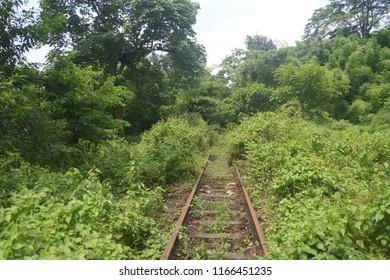 Haflong Hill, Dima Hasao, Assam/India- August 25, 2018: Heritage Railway Trail, Heritage Walk, Trekking along old abandoned meter gauge railway track made during British rule. Heritage Indian Railway.