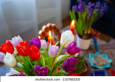 Haft Seen traditional table of Nowruz. Haft-Seen also spelled as Haft Sin is a tabletop (sofreh) arrangement of seven symbolic items traditionally displayed at Nowruz, the Iranian new year.