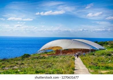 HAGAR QIM, MALTA - NOV 30, 2018 - neolithic temples of  Mnajdra, Malta