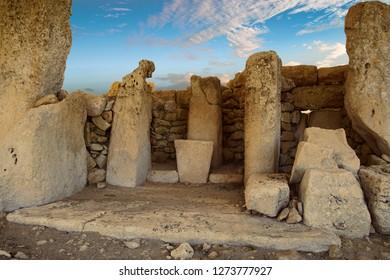 HAGAR QIM, MALTA - NOV 30, 2018 - Neolithic temples of Hagar Qim, Malta